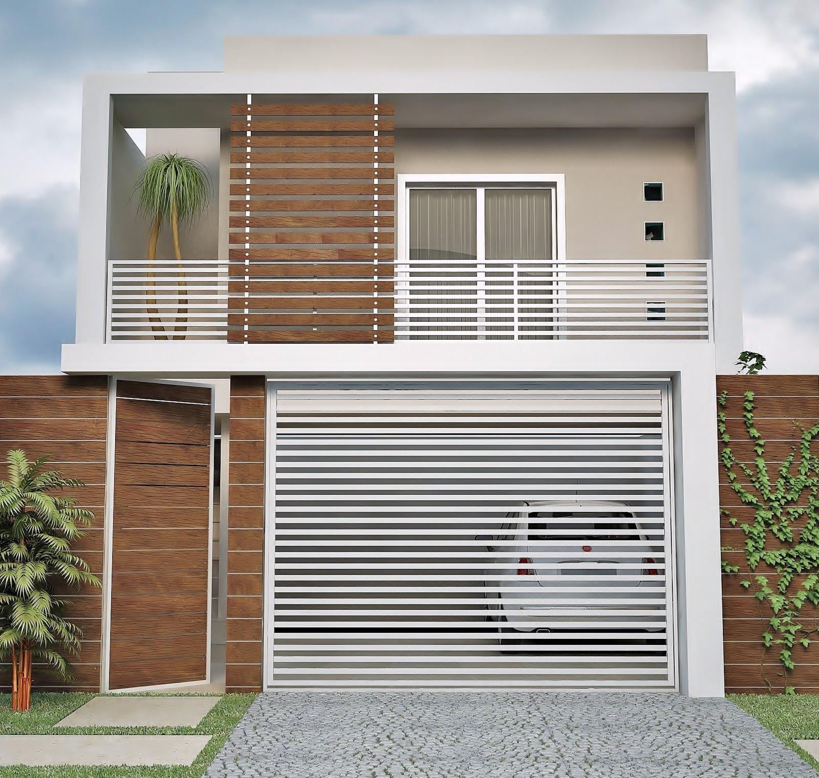 casa com fachada com detalhes de madeira