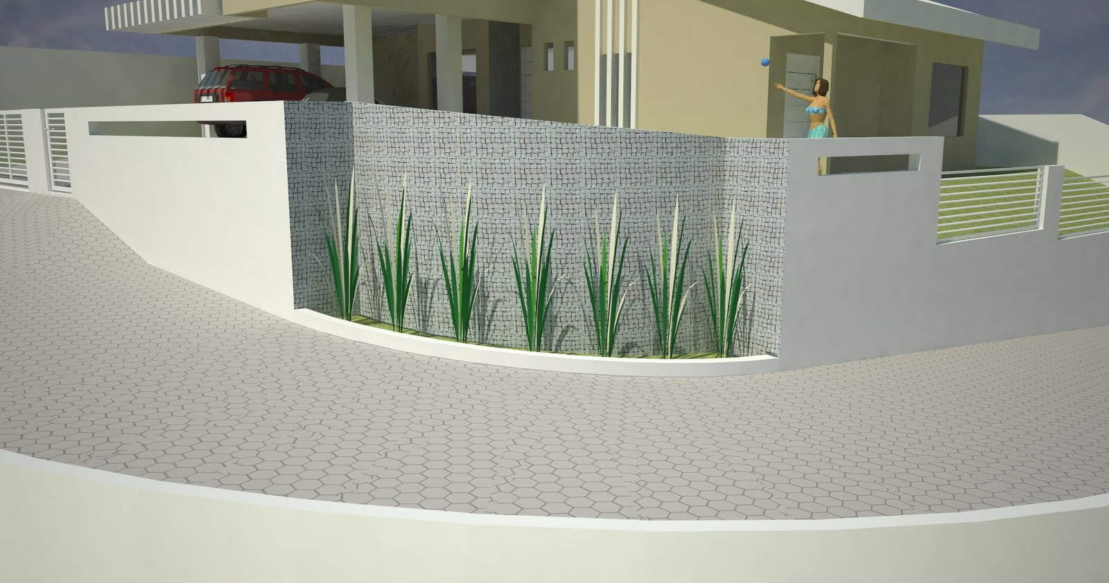 muro com folhagens