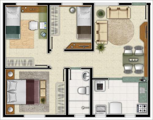 Plantas de casas com 3 quartos for Modelos de mini apartamentos