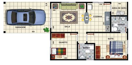 5 modelos de plantas de casas com 2 quartos