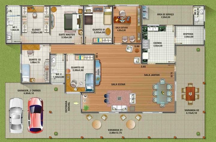 Plantas de casas com 4 quartos for Paginas para hacer planos gratis