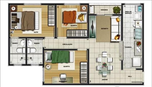 Plantas de casas com 3 quartos for Casa moderna 3 habitaciones