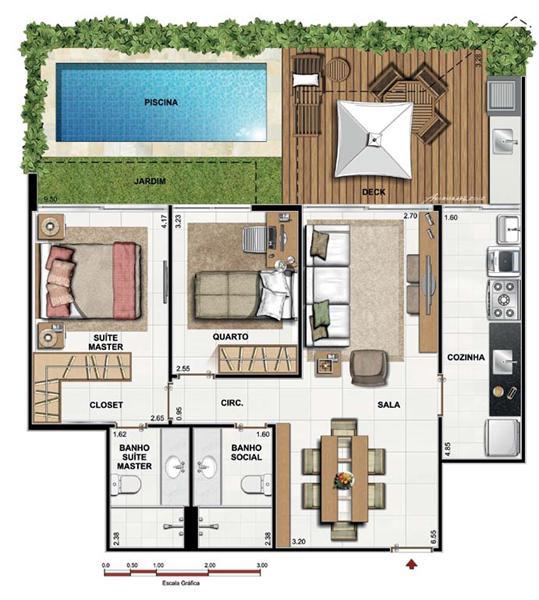 5 modelos de plantas de casas com 2 quartos for Modelo de casa x dentro