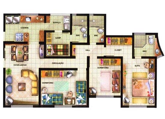 Plantas de casas com 3 quartos