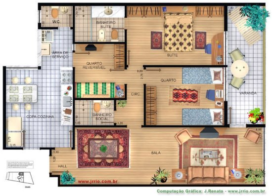 Plantas de casas com 3 quartos for Plantas para casa