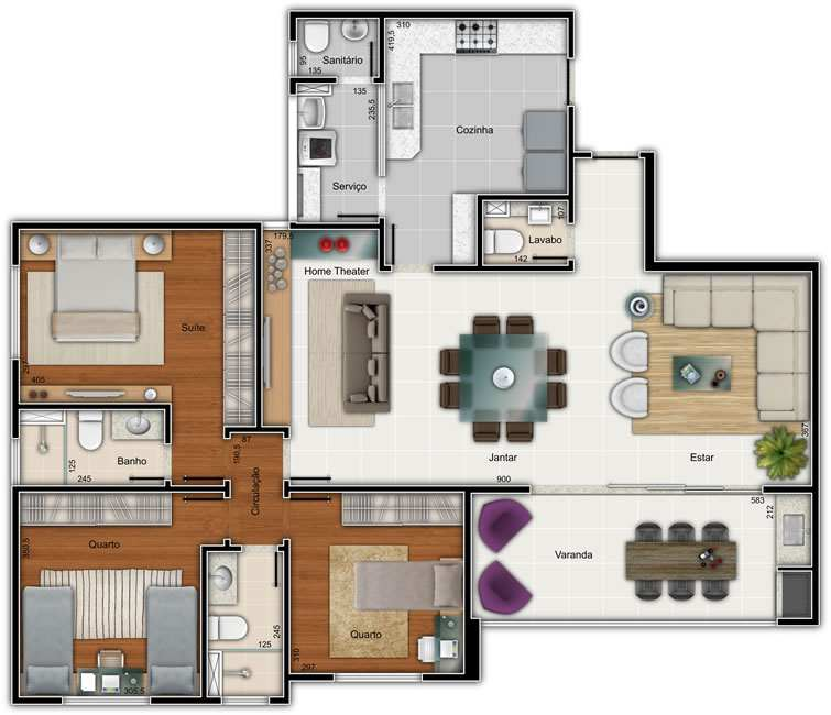 Plantas de casas com 3 quartos for Casa moderna 90m2