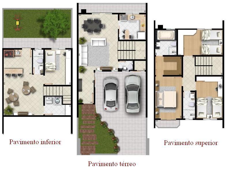 10 modelos de plantas para sobrados for Casas modernas de 70m2