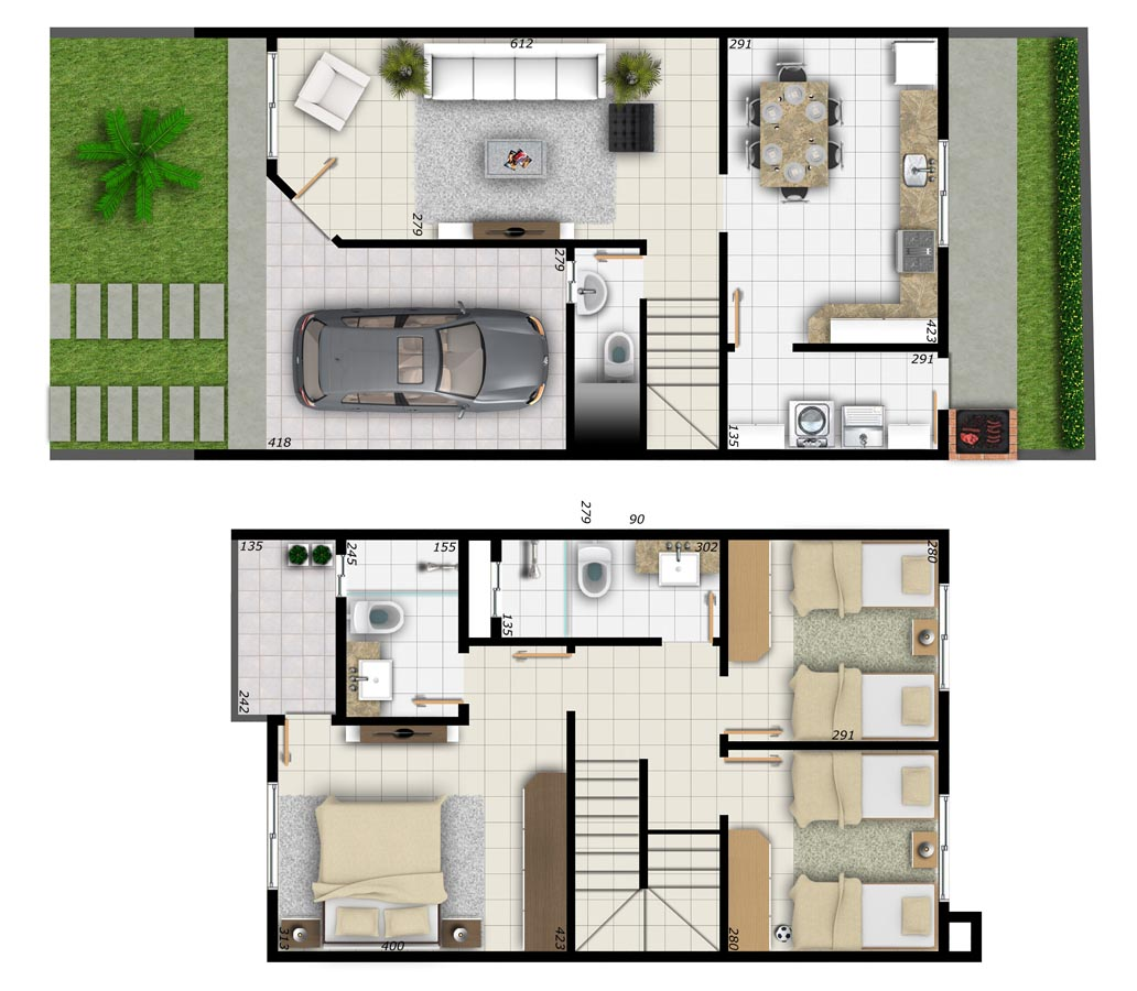 #3E671D planta foi muito bem aproveitado. No andar de baixo tem a cozinha  1032x900 px Projetos De Casas Com Cozinha Nos Fundos #187 imagens