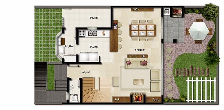 Modelo de casas americanas una planta imagui Casas americanas de una planta