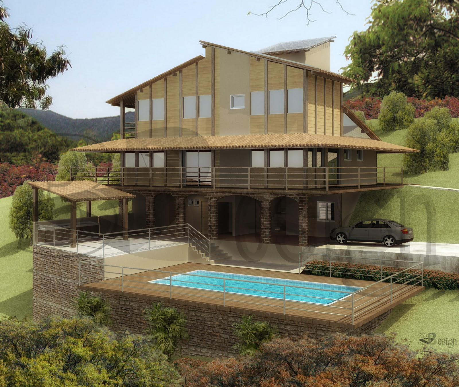 Fachadas de casas de campo modelos fotos for Modelos de piscinas de campo