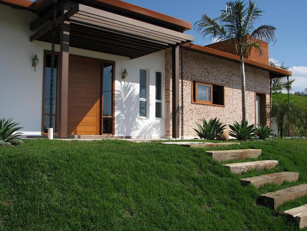 Fachada de casas com tijolinho a vista fachada de casas for Fachada de casas