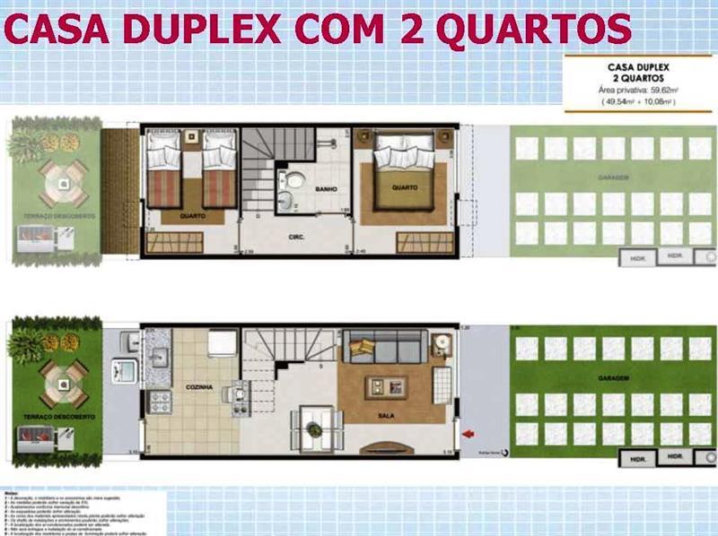 Casa duplex com dois quartos