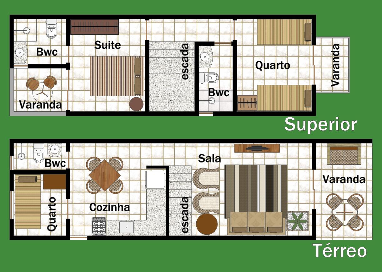 Casa duplex com três quartos