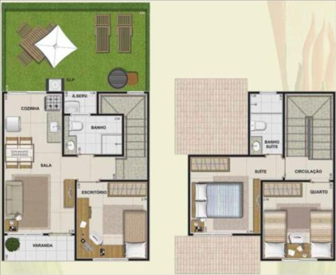 Casa duplex com varanda