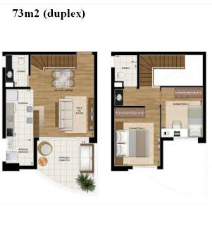 Duplex com dois quartos