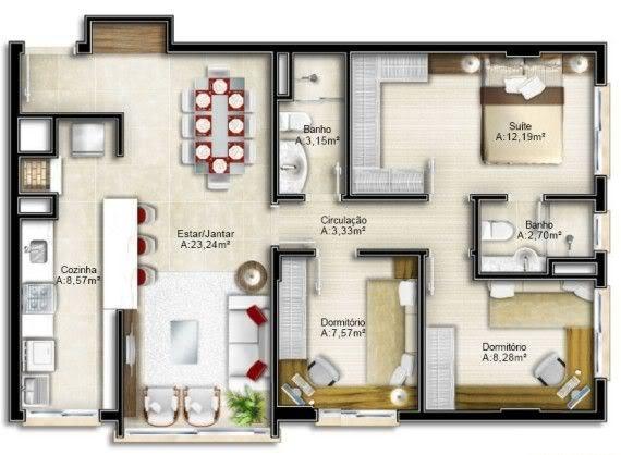 Planta baixa de casas modernas gr tis modelos fotos for Casas modernas de 70m2