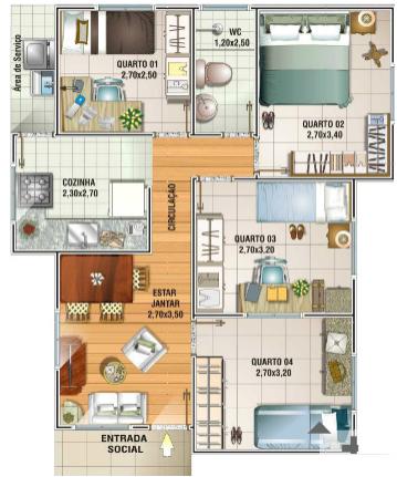 Imagens de casas modernas em planta