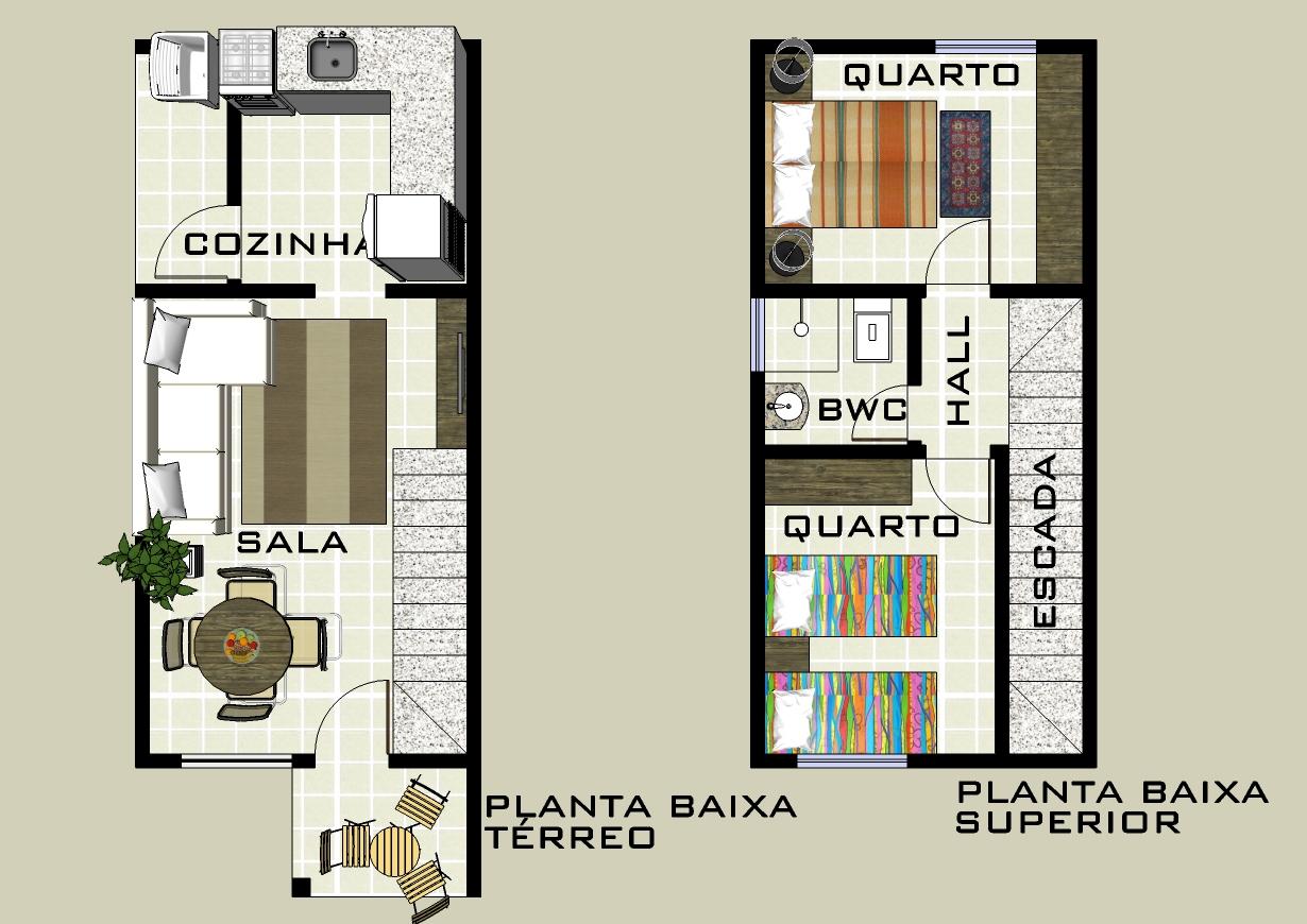 Plantas de casas duplex: 17 modelos #9F622C 1230 870