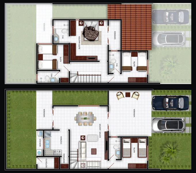 Plantas de casas duplex 17 modelos for Plantas para casa
