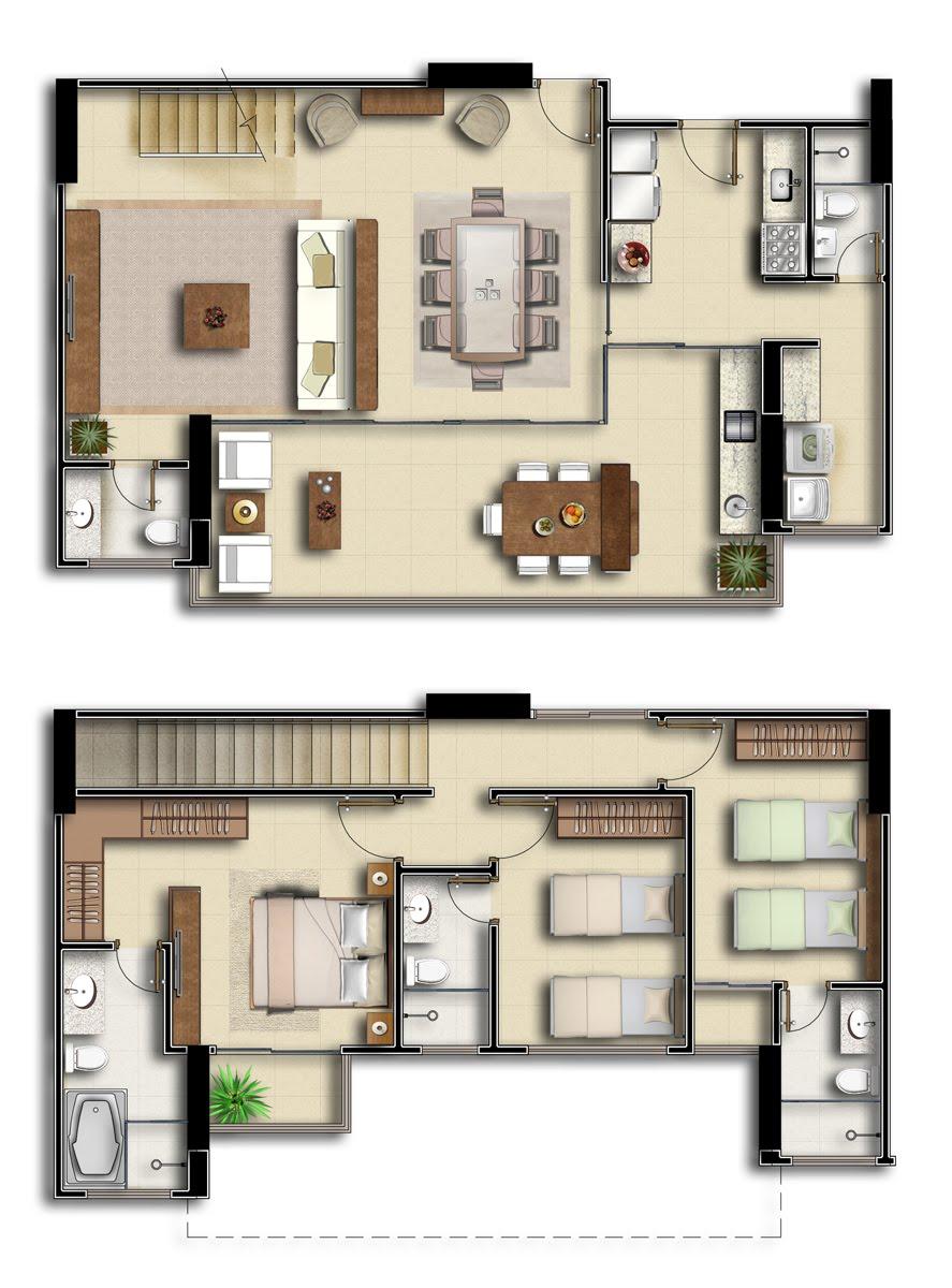 Plantas de casas duplex 17 modelos for Casa moderna 90m2