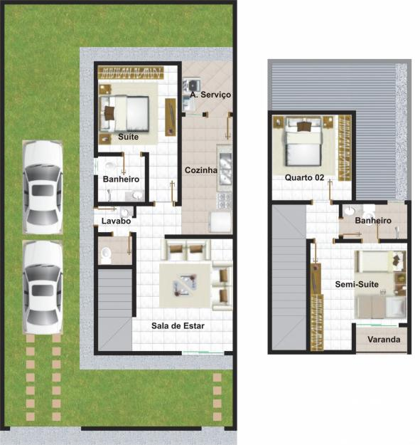 Planta de casa duplex com garagem