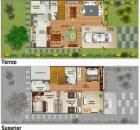 Planta de casa duplex com três quartos