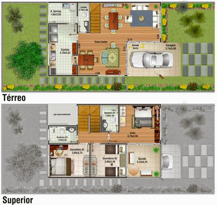 Plantas de casas duplex: 17 modelos