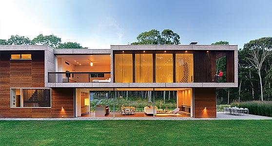 Diferentes modelos de fachadas de casas de praia