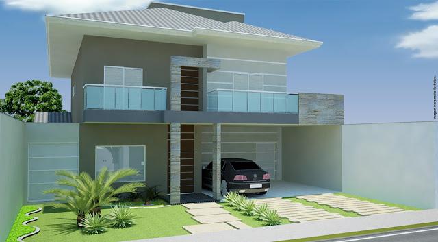 Fachada de casa com varanda
