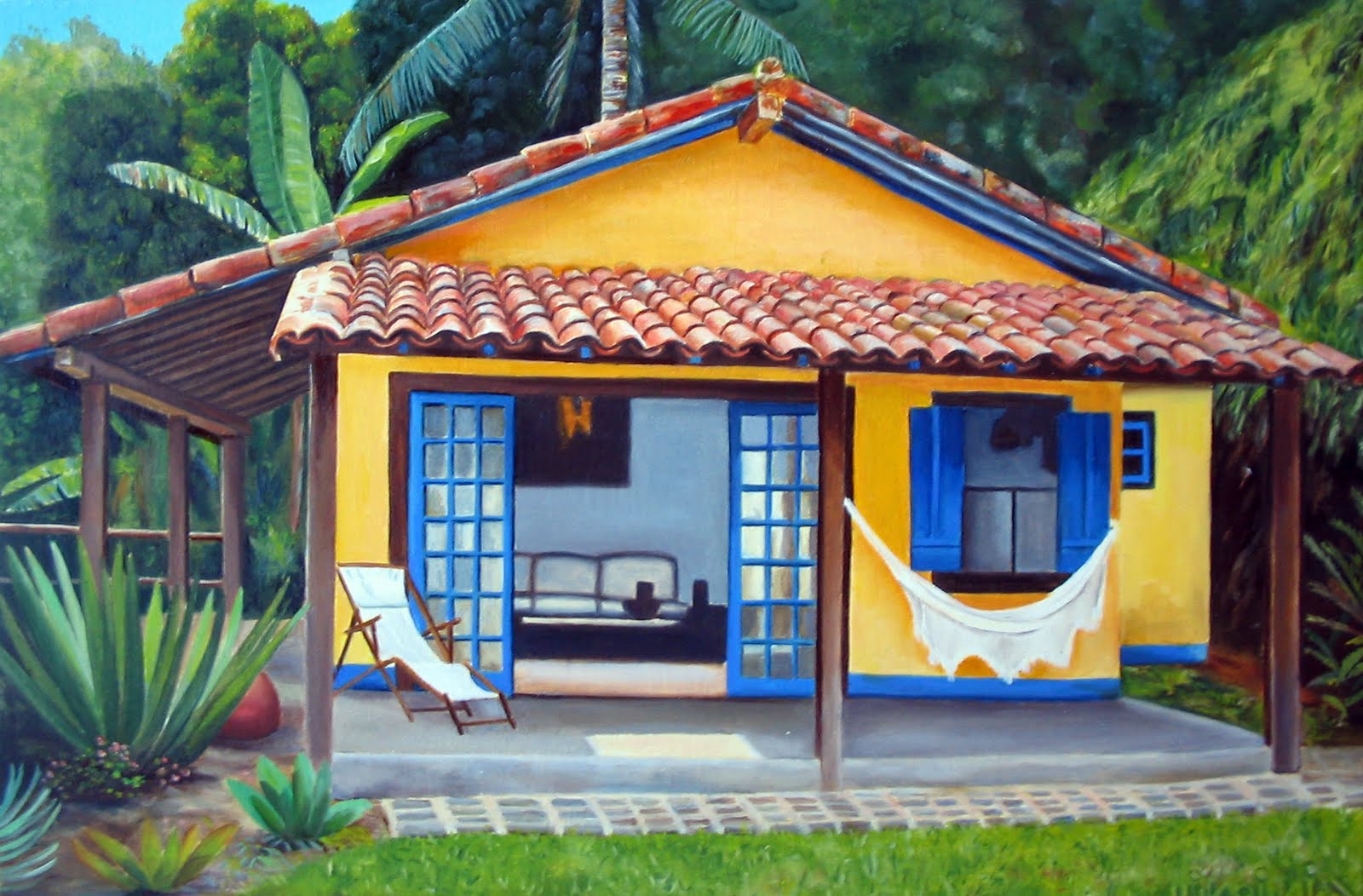 Casa de praia com fachada decorada