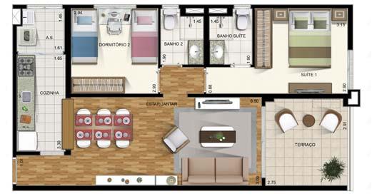 Casa com dois quartos pequena