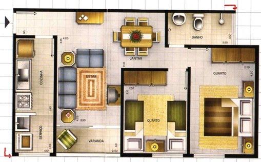 Casa com dois quartos planta