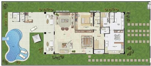 5 modelos de plantas de casas com piscina for Modelos de casas grandes