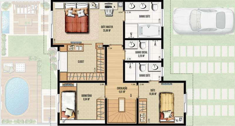 Casa com três quartos