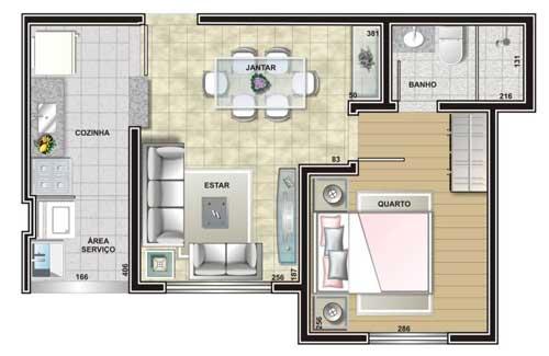 Casa com um quarto pequena