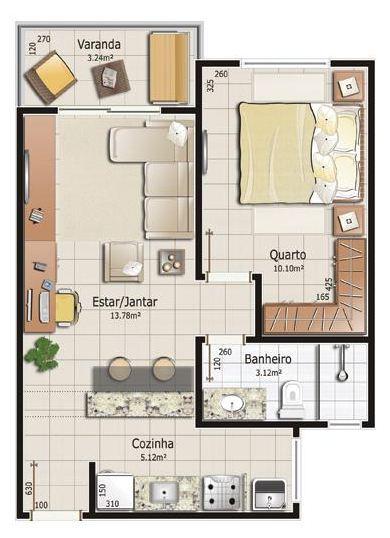 Casa pequena com um quarto