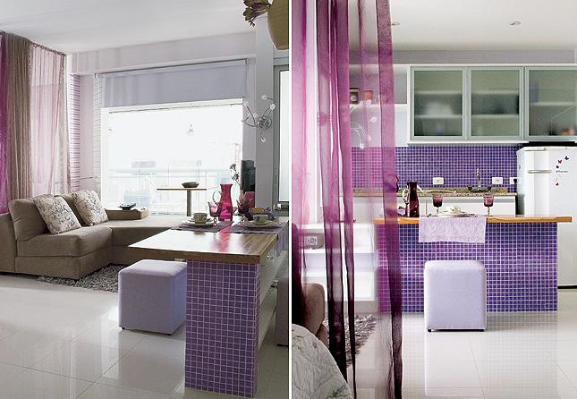Cozinha com pastilha lilás