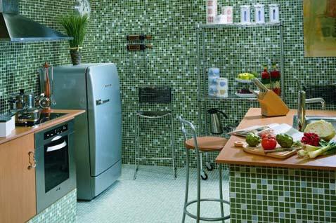 Cozinha com pastilha verde