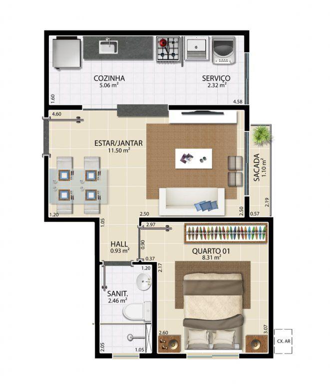 Planta Casa com um quarto