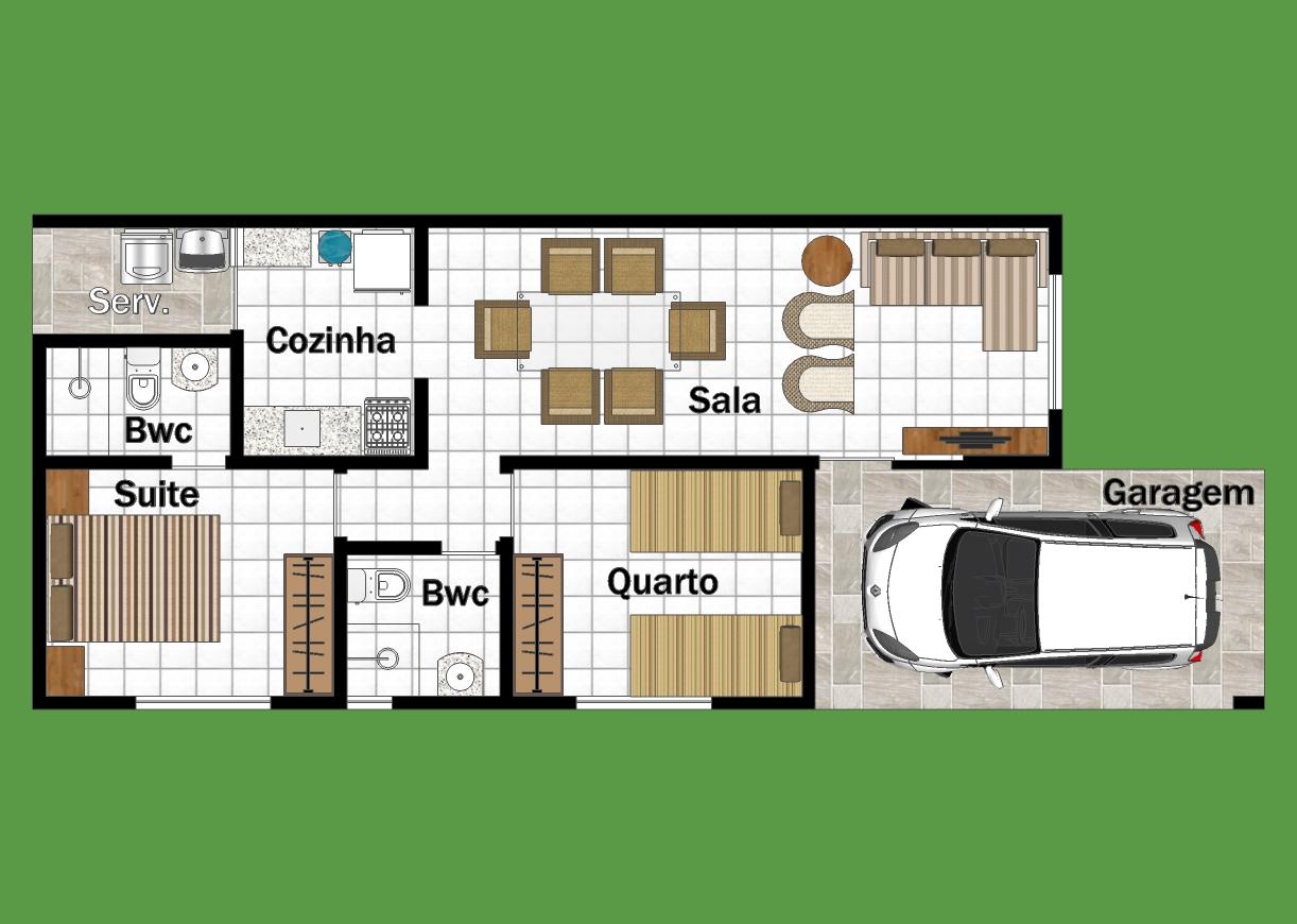 Planta casa com dois quartos