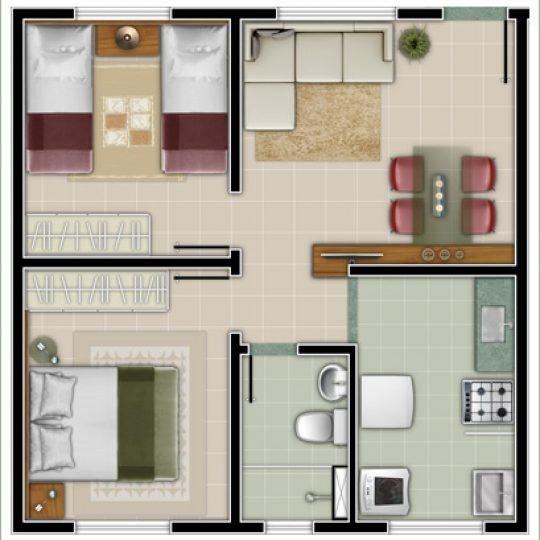 Planta com dois quartos