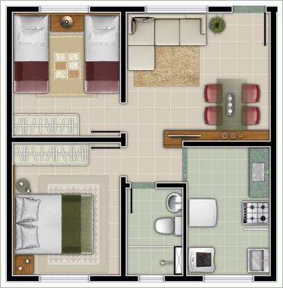 Plantas de casas com 2 quartos