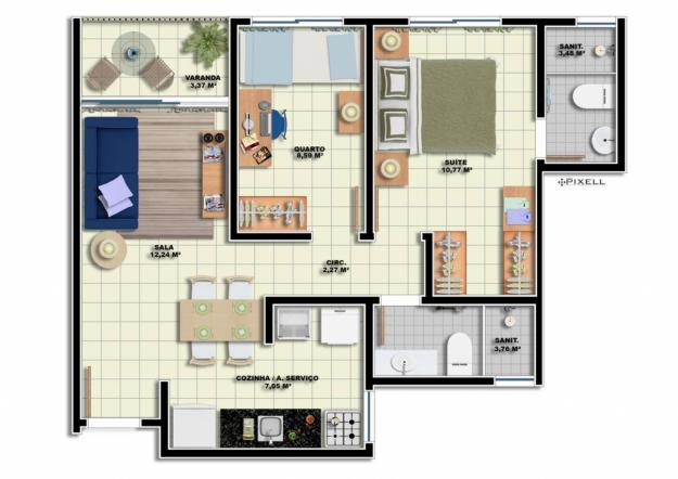 Planta de casa com dois quartos