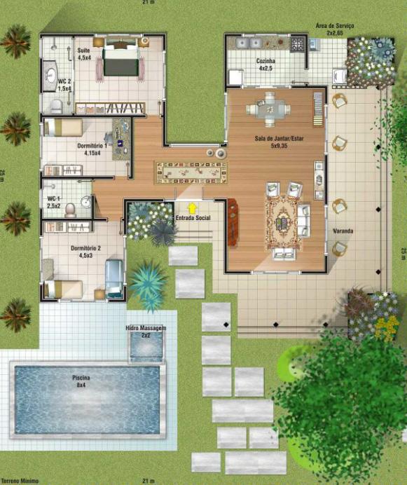 5 modelos de plantas de casas com piscina for Plantas para piscinas