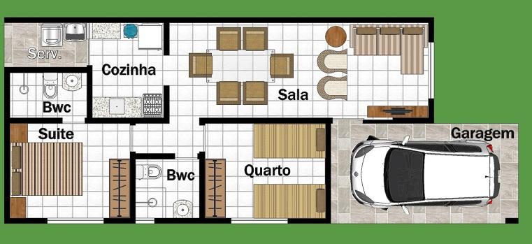 Planta de casa com quatro cômodos