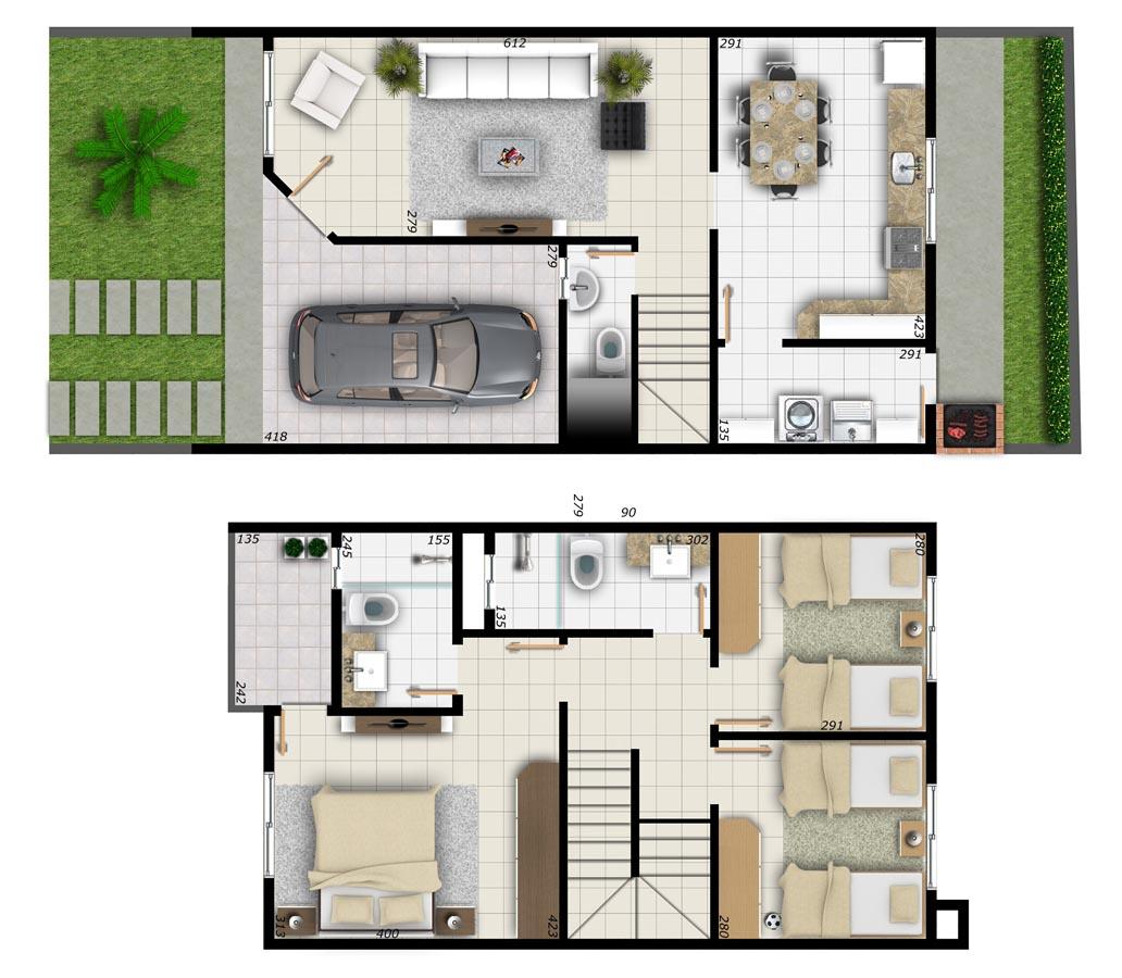 15 modelos de plantas de casas até 100 mil