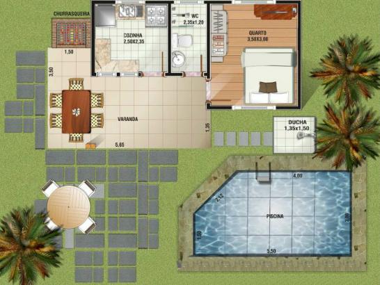 Plantas com piscina