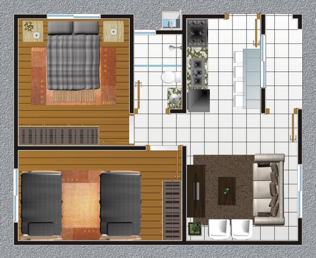 Plantas de casas com 4 c modos for Ver modelos de casas pequenas