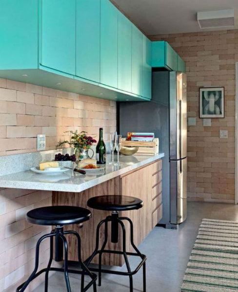 cozinha pequena decorada verde