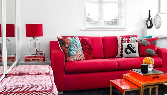 sala decorada vermelha
